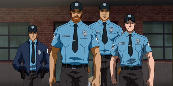 Young Justice - Arsenal, Red Arrow, Guardian and Nightwing as Security Guards